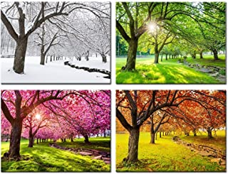 Kreative Arts 4 Piece Canvas Wall Art Spring Summer Autumn Winter Four Seasons Landscape Colorful Tree Painting Picture Prints Modern Giclee Artwork Stretched Framed Bathroom 16x20inchx4pcs