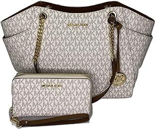 Michael Kors Jet Set Travel Large Chain Shoulder Tote Bundle with Large Flat MF Phone Case Wallet Wristlet (Signature MK V...