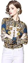 Women's Animal & Leopard Print Shirt Regular Fit Long Sleeve Button up Casual Blouse Top