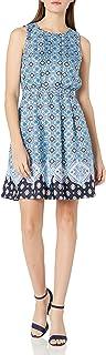 فستان دونا مورجان للنساء متعدد التويل بخصر مطاطي مطوي