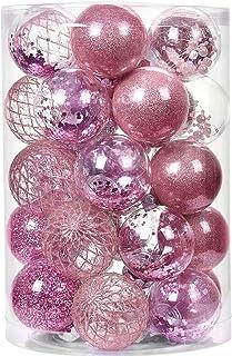 YILEEY Bolas Arbol de Navidad Personalizadas 34 Piezas Rosado, Decoracion Adornos Arbol Navidad Pet Material Inastillable,...