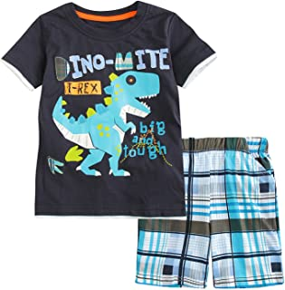 Sladatona Little Boys' Cotton Clothing Short Sets Summer Cotton Shirts Pants Toddler Clothes