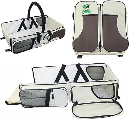 3en 1bolsa de viaje para bebé | cuna portátil/plegable cama | cuna de viaje funciona como bolsa de pañales y cambio de estación | Por simplemente Samba, Beige