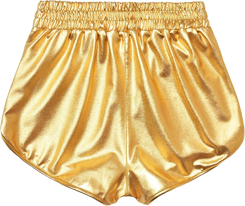 PESION Womens Metallic Shiny Shorts Sparkly Rave Hot Short Pants