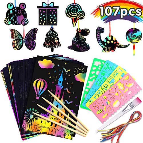 Riarmo Scratch Art Paper Set for Kids, 107 Pcs Rainbow Magic Scratch Off Paper Art Craft for Boys & Girls, Fun Imagin...
