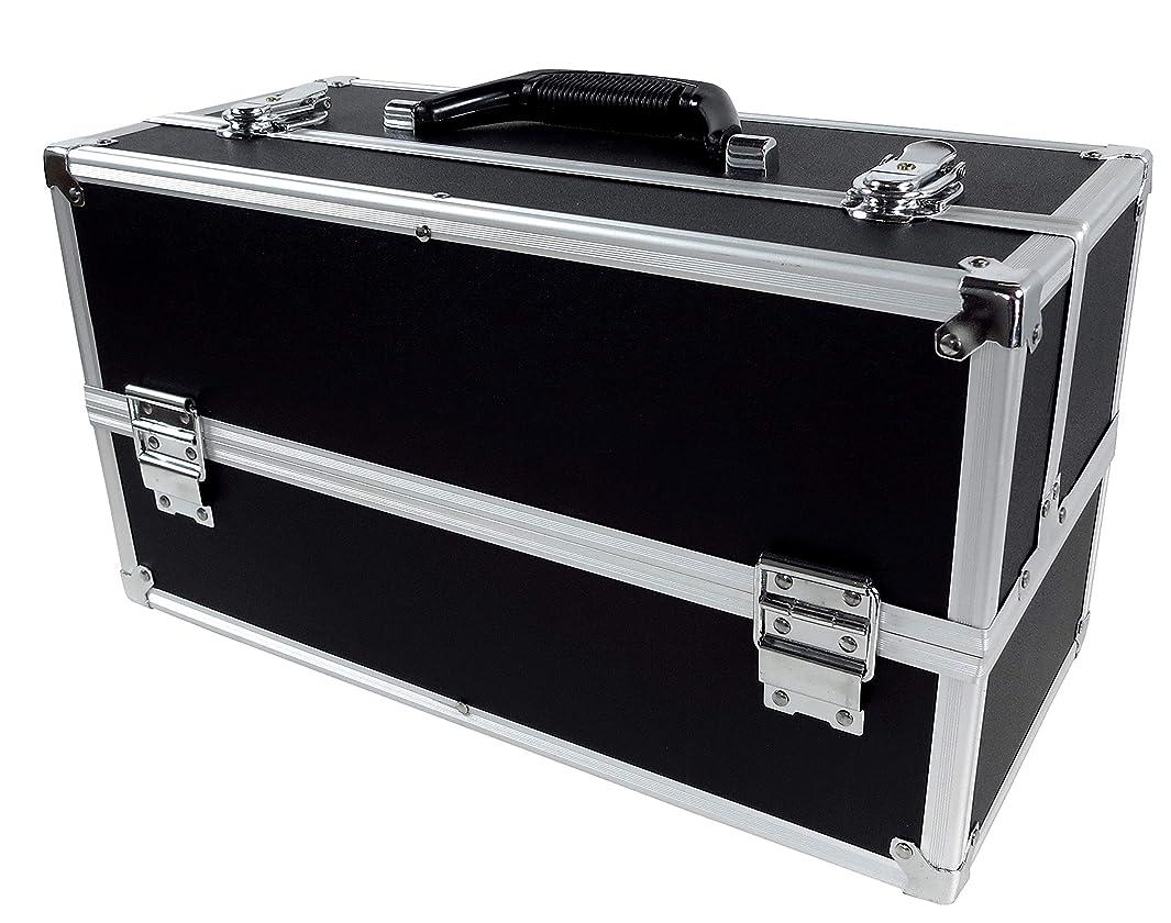 ホット労働パーツリライアブル コスメボックス ワイド RB201-BK 鍵付き プロ仕様 メイクボックス 大容量 化粧品収納 小物入れ 6段トレー ベロア メイクケース コスメBOX 持ち運び ネイルケース