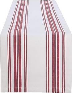 """Elrene Home Fashions Farmhouse Living Homestead Stripe Table Runner, 13"""" x 70"""", Red/White"""