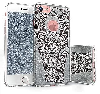 真正的彩色手机壳与 iPhone 8 闪光手机壳兼容,闪闪发光民族大象印花三层混合式女孩手机壳带防震 TPU 外壳 - 银色上黑色图案