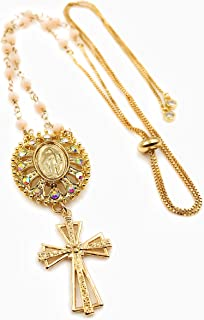 Catholic Necklace for Women Rosary Style Adjustable Bolo Chain Handmade