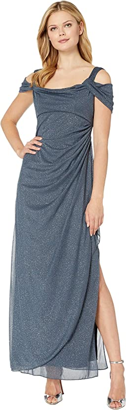 Long Glitter Mesh Cold Shoulder Dress