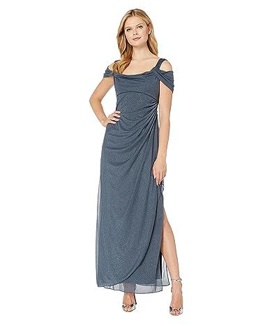 Alex Evenings Long Glitter Mesh Cold Shoulder Dress (Smoke) Women