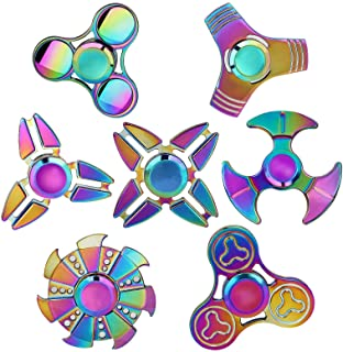 SCIONE Metal Fidget Spinner Toys 7 Pack,Stainless Steel Bearing 3-5 Min High Speed Stress Relief Spin ADHD Anxiety Toys fo...