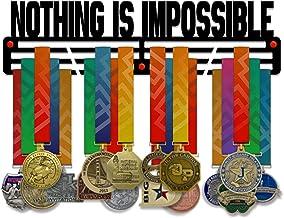 VICTORY HANGERS Niets is Onmogelijk Medal Houder Display Rack - 3 Bars Zwart Gecoat 3 mm Staal Metalen Hanger met Wall Mou...