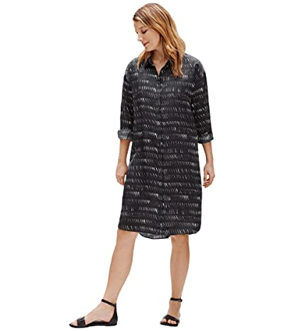 Eileen Fisher Classic Collar Shirtdress (Black) Women