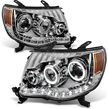For Toyota Tacoma Chrome Clear Dual Halo Ring DRL Daylight LED Projector Headlights Replacement Pair