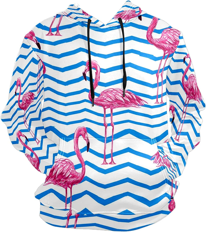 Men's Sport Hoodie Nautical Flamingo Summer Blue Stripes Big and Tall Hoodies for Men Women Oversized Hooded Sweatshirt Hip Hop Pullover Hoodie Midweight Hood for Boys Girls