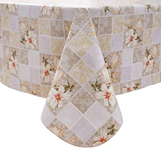 Vinyl Square or Rectangle Tablecloth - Flannel Backed - Waterproof Wipeable Table Cloths Durable Table Cover for Kitchen D...