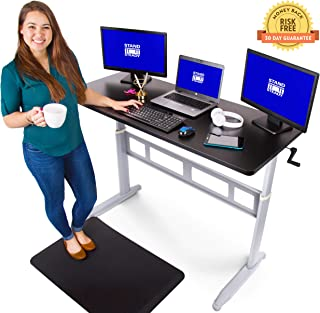 Tranzendesk Standing Desk - 55 inch Long - Easily Crank from Sitting to Standing (Black Top/Silver Frame)
