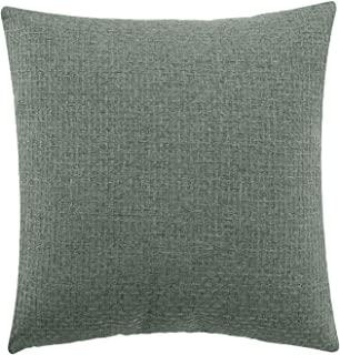 Jepeak Comfy Cotton Linen Throw Pillow Cover Rattan Weaved Pattern Cushion Case, Solid Thickened Farmhouse Modern Decorative Square Pillow Case for Sofa Couch Bed (Dull Spruce Green, 18 x 18 Inches)