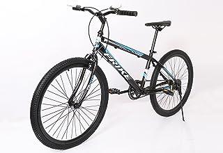 FRIKE 1 Speed Carbon Steel Frame Mountain Adult Bike 26 Inch, Black & Blue