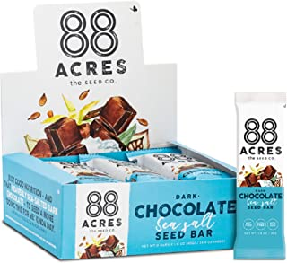88 Acres Granola Bars | Dark Chocolate Sea Salt | Gluten Free, Nut-Free Oat and Seed Snack Bar | Vegan & Non GMO | 12 Pack