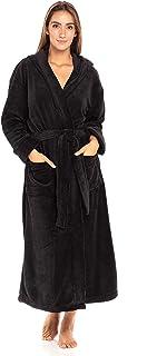 Alexander Del Rossa Women's Plush Fleece Robe with Hood, Warm Striped Bathrobe