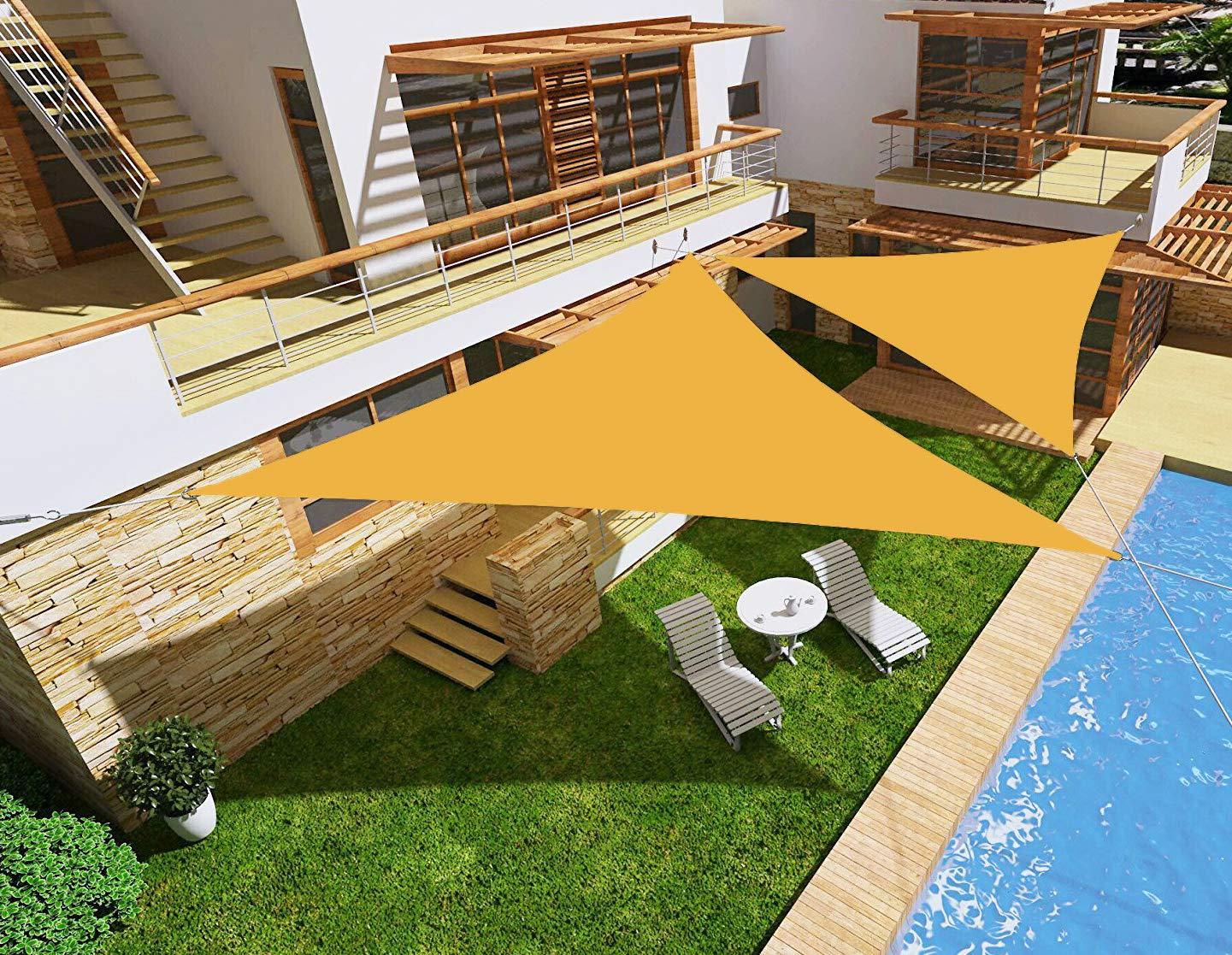 HENG FENG Toldo Vela de Sombra Impermeable Triangular 3 x 3 x 3 m Protección Rayos UV PES Repelente del Agua Resistente a la Intemperie para Patio Exteriores Jardín Color Arena: Amazon.es: Jardín