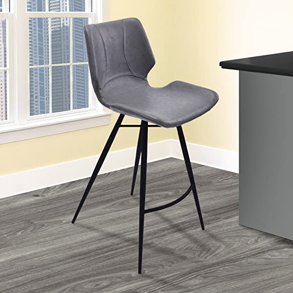 Armen Living LCZUBAVGBL26 Zurich 26 Counter Height Barstool In Vintage Grey Faux Leather And Matte Black Metal Finish