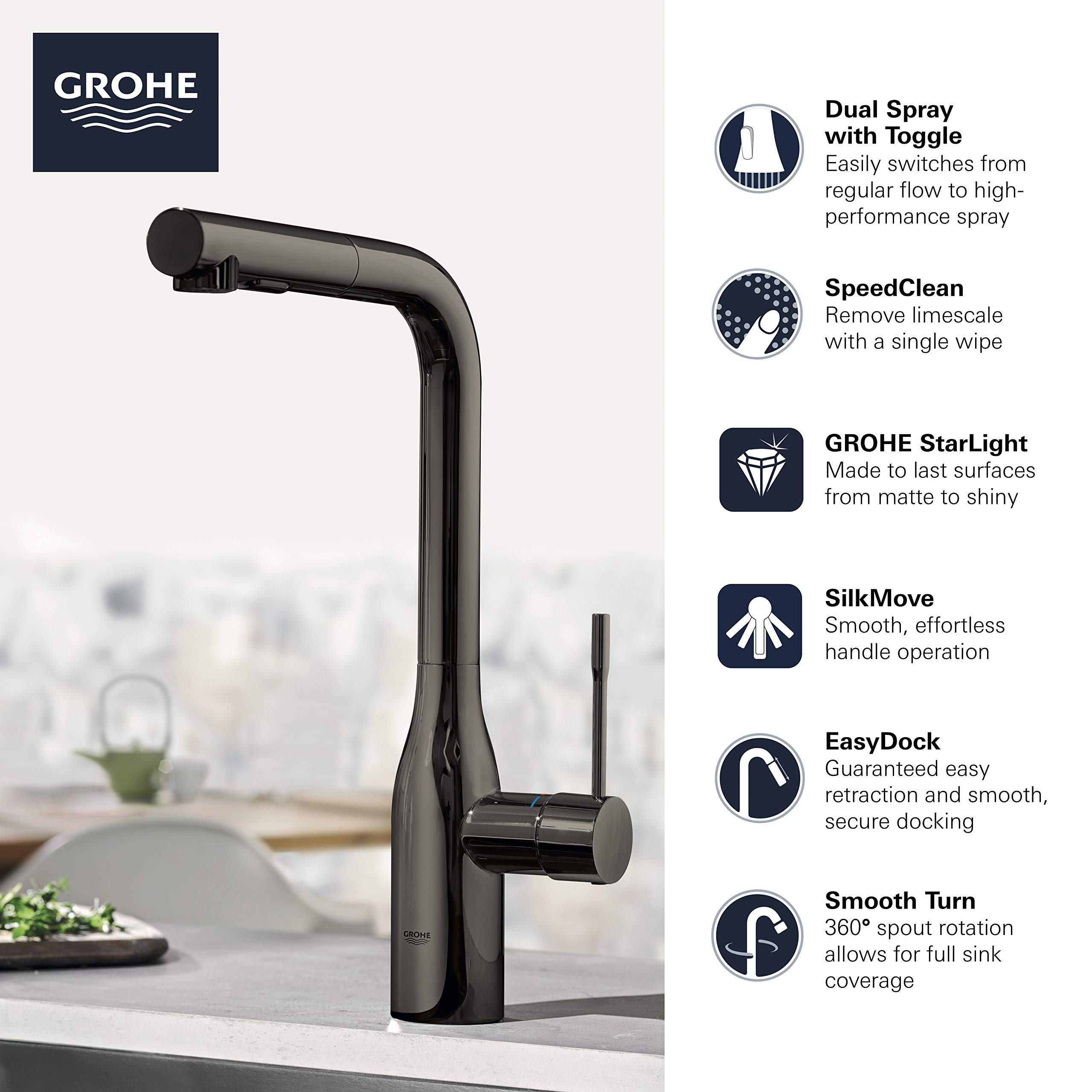Grohe 30271be0 Essence Single Handle Kitchen Faucet Polished Nickel Amazon Com