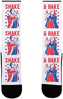 LookHUMAN Shake & Bake: George Washington & Benjamin Franklin US Size 7-13 Socks