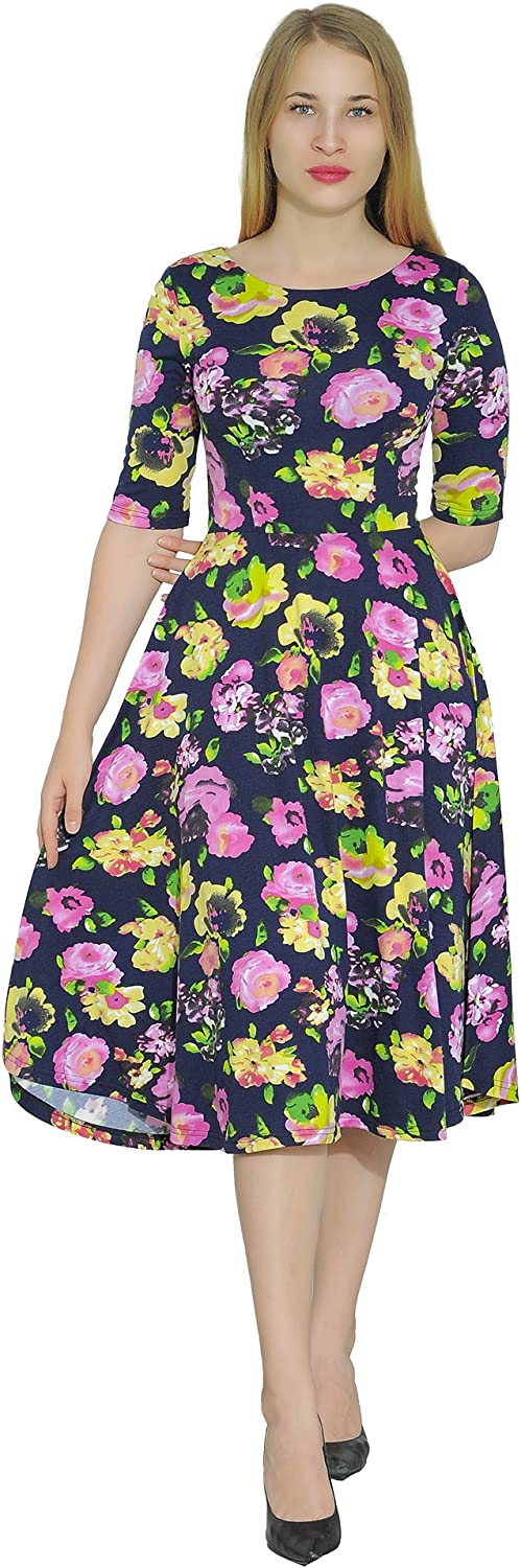 Marycrafts Women's Floral Print Fit Flared Midi Dress