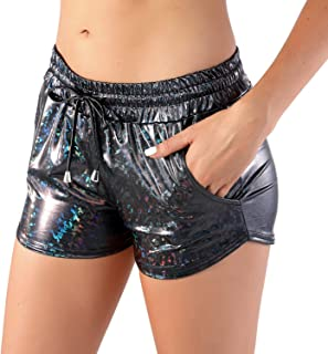 RIKKI Women's Shiny Mermaid Fish Scale Hot Pants Mini Shorts