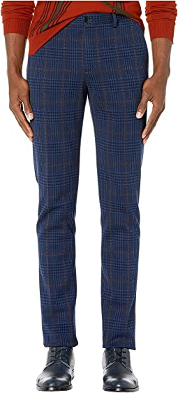 Flat Front Jersey Plaid Pants