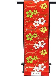 袋帯 正絹 新品 七五三 十三参りに 子供用 全通柄の袋帯「赤 亀甲に桜」JFS503