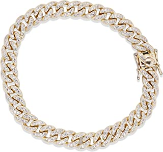"""10MM Round Cut Simulated Diamonds 9"""" Long Miami Cuban Bracelet and 32"""" Long Necklace Chain in 14k Gold Plated 925 Sterling..."""