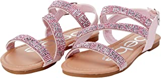 Girls' Sandals - Strappy Rhinestone Studded Leatherette...