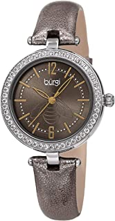 Burgi BUR235 Designer Women's Watch – CZ Stone Studded Case, Metallic Leather Strap, Pretty Insect Motif Etched on Sunray Dial