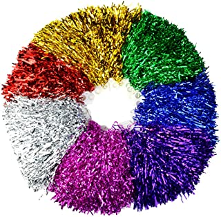 Marrywindix Cheerleading Pom Poms, 14 Pack Cheerleader Pompoms Metallic Foil and Plastic Ring Pompoms Cheerleader for Spor...