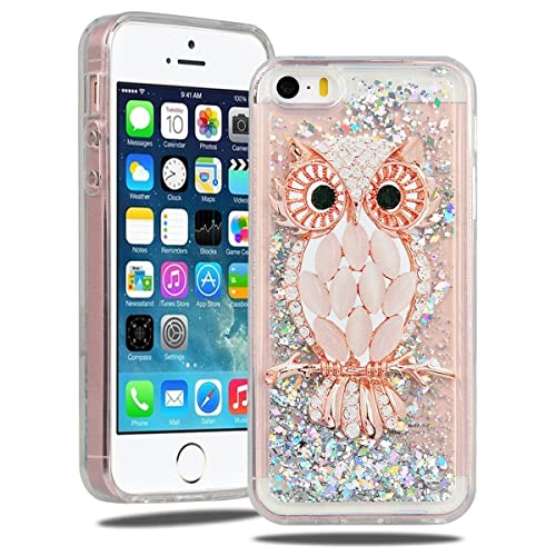SmartLegend iPhone 5 5S Case Glitter, iPhone SE Cover Silicone, Soft Liquid Crystal Quicksand Moving Bling Silicone Soft Case for Apple iPhone SE iPhone 5 5S, Gel Rubber Floating Dynamic Flowing TPU Flexible Shining Ultra Thin Lightweight Anti-Scratch Full Body Protective Skin Cover for Apple iPhone SE iPhone 5 5S - Diamond Owl