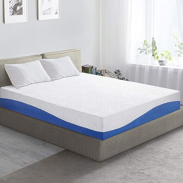 PrimaSleep Wave Gel Infused Memory Foam Mattress 10 H Full Blue