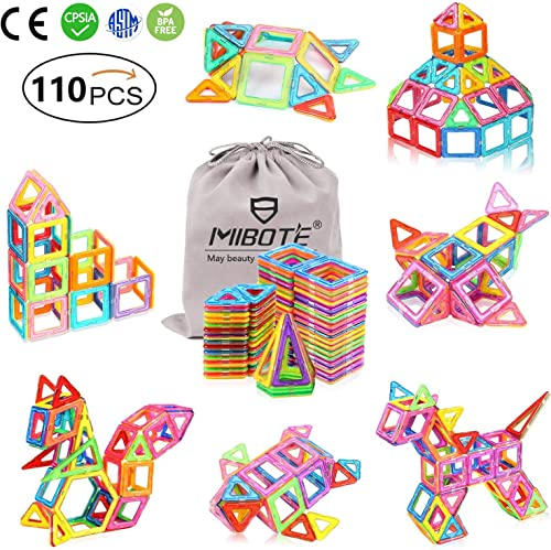 MIBOTE (110 PCS) Magnetic Building Blocks Educational Stacking Blocks Toddler Toys for Preschool Boys Girls Education...