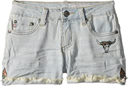 Tacked Fray Hem Palm Shorts in Sunwashed  (Big Kids)