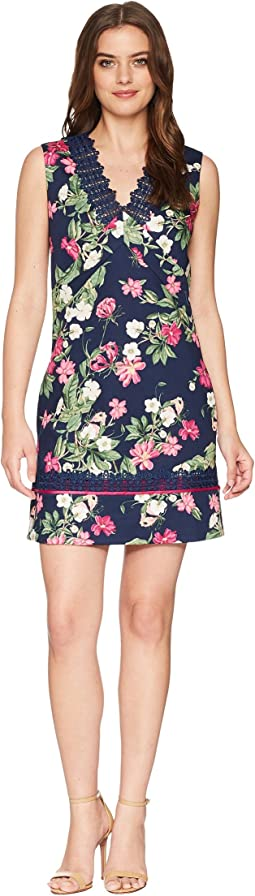 Printed Pique V-Neck Sleeveless Dress