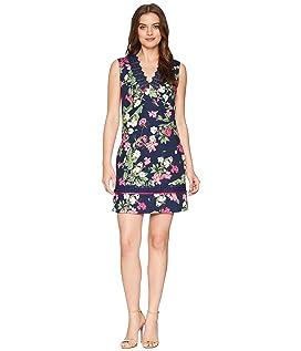 Printed Pique V-Neck Sleeveless Dress