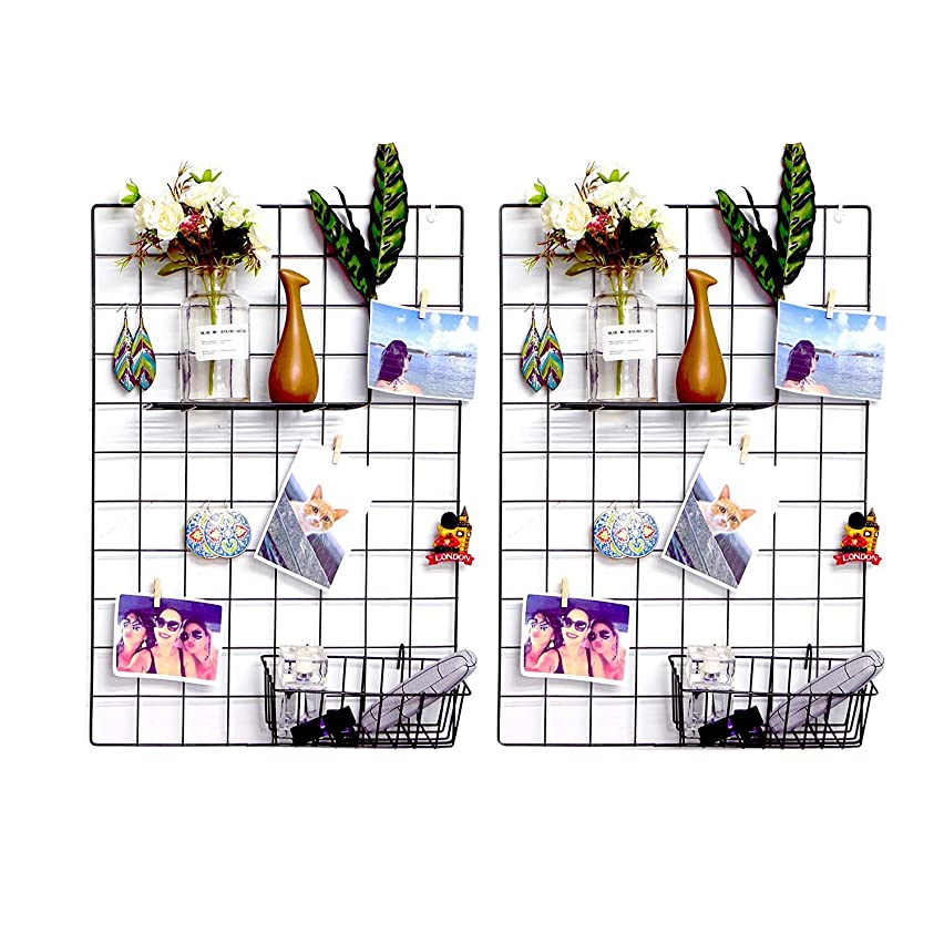 Wall Grid Panel(Set of 2, Grid Wall Photo Display Hanging, Decor Iron Rack, Photograph Wall Mesh Organizer, Ins Art Display Picture Wall Hangers, File Holder Wall (2 Packs, 25.6 x 17.7 Inches, Black)