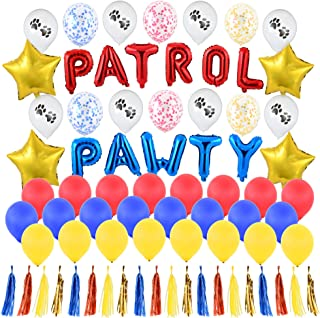 """Pawty Patrol Party Supplies - Includes Spell Out""""Patrol Pawty"""" Red and Blue 14in Foil Letter Balloons - Gold Stars, Confet..."""