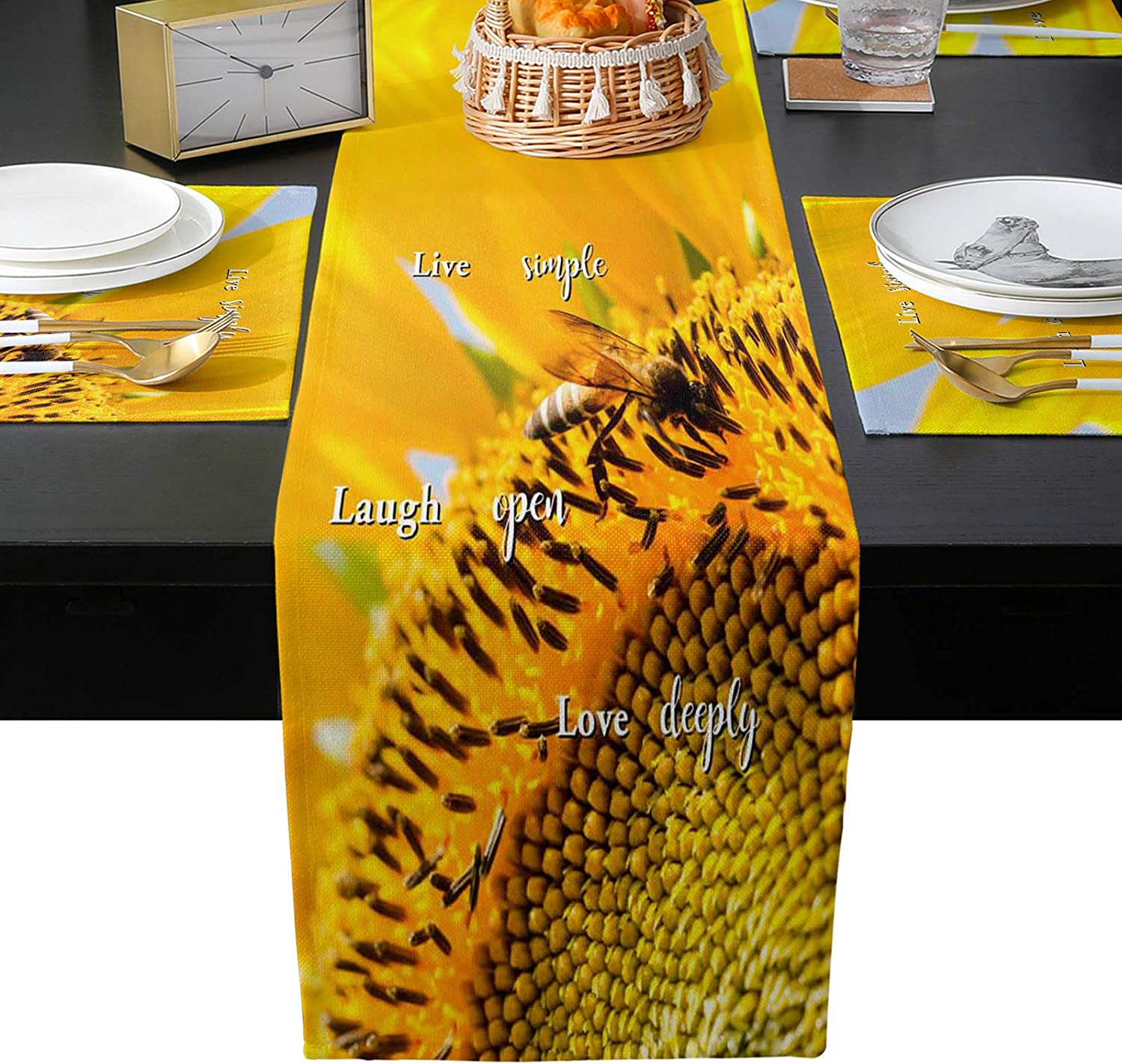 TH XHome Linen Burlap Table Same day shipping Runner and Trust Placemats-Sunflower Bee