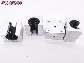 4 Pcs SBR20UU 20mm Aluminum Open Linear Router Motion Bearing Solide Block