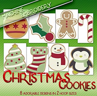 Christmas Cookies Embroidery Machine Designs on CD - Adorable Holiday Style Patterns - 2 Sizes Each - Multiformat CD