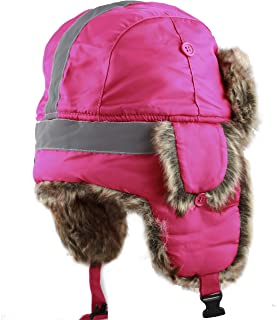 Safety Reflective Faux Fur Aviator Kids Adult Trapper Hat Snow Ski Trooper Winter Cap